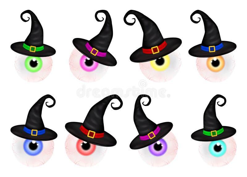 Insieme di Halloween spettrale, bulbo oculare umano spaventoso e realistico con l'allievo variopinto, iride in cui cappello Illus royalty illustrazione gratis
