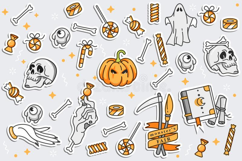 Insieme di illustartion di vettore delle icone lineari per Halloween felice Distintivi e contrassegni Distintivi e perni della to royalty illustrazione gratis