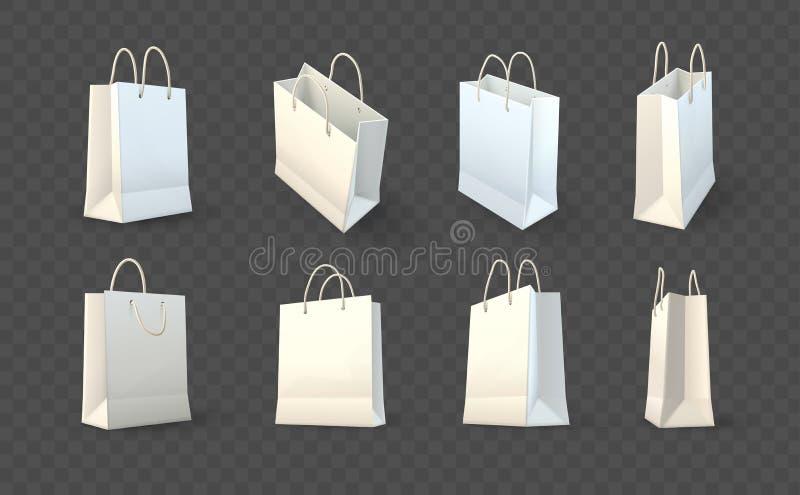 Insieme di imballaggio di carta dei sacchetti della spesa illustrazione di stock