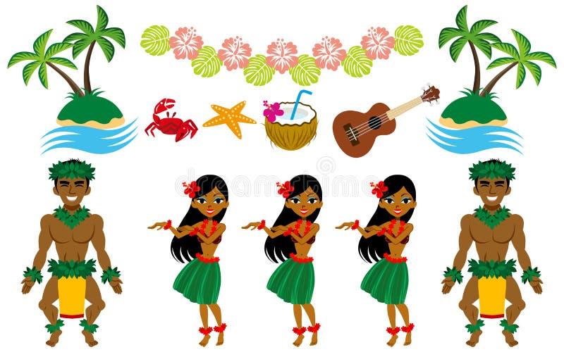 Insieme di immagine del ballerino e del hawaiano di hula fotografia stock
