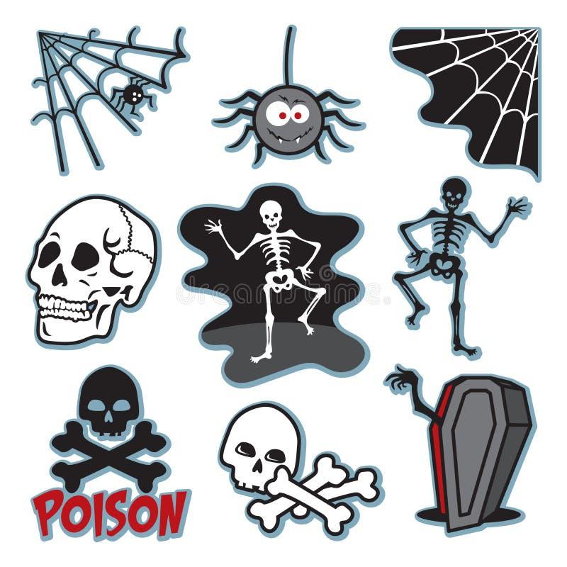Insieme di immagine di scheletro dell'icona dell'illustrazione illustrazione vettoriale