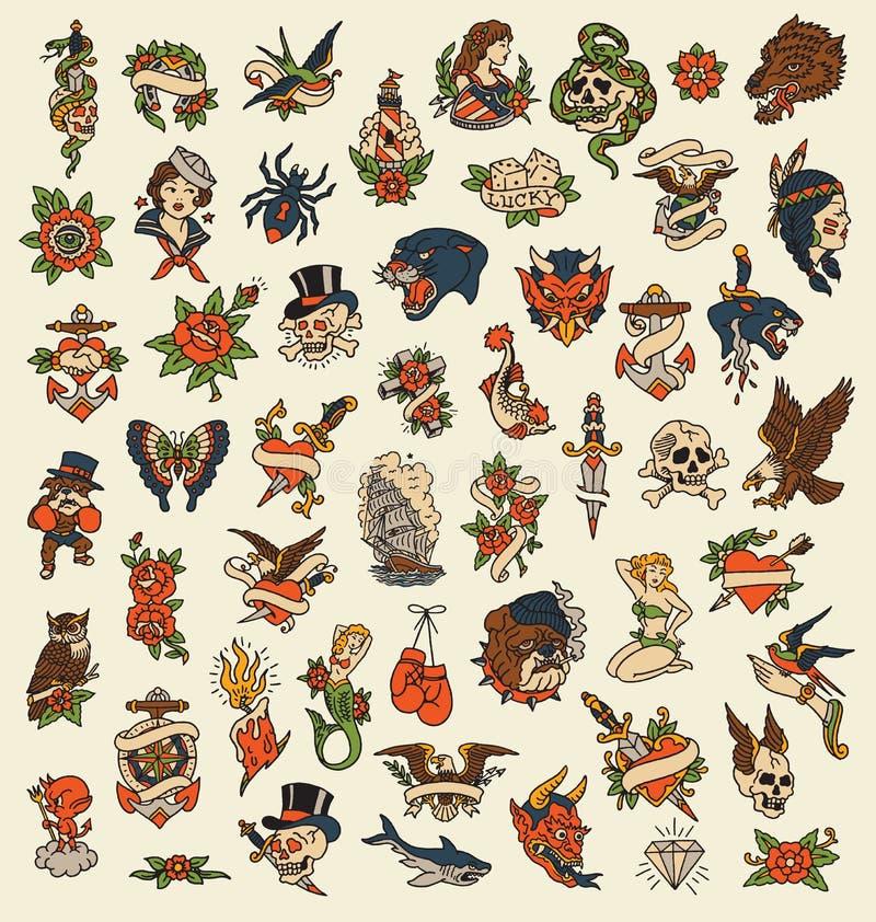 Insieme di immagine disegnato a mano di vettore dell'icona del tatuaggio della vecchia scuola 52 illustrazione vettoriale