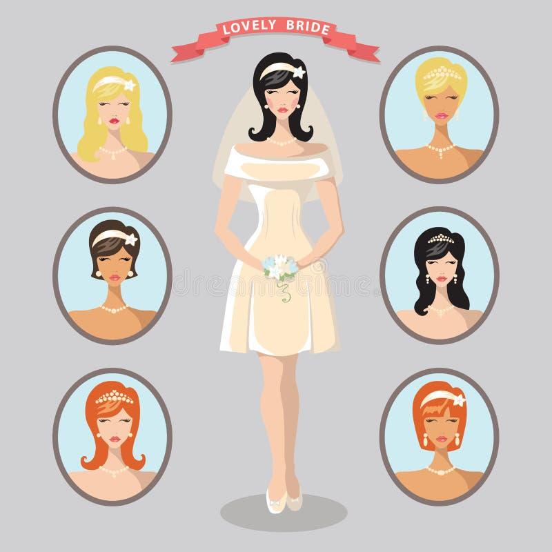 Insieme di immagini adorabile della sposa Modello di progettazione di nozze illustrazione di stock