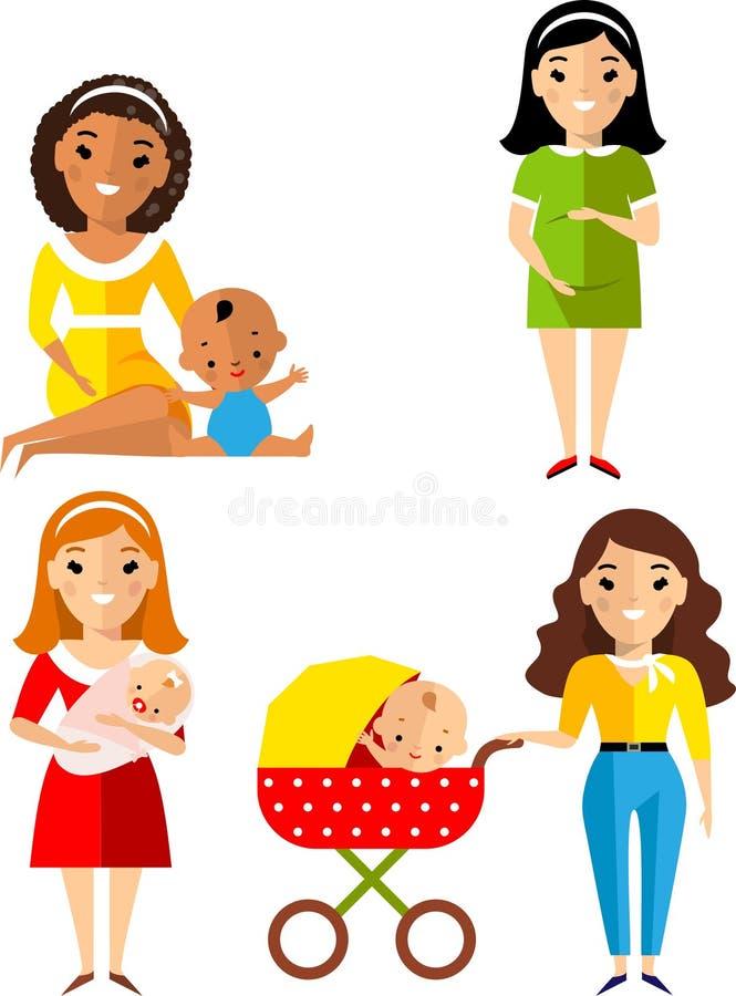 Insieme di incinto, madre con neonato in passeggiatore illustrazione di stock