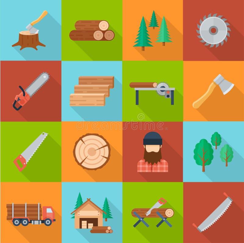 Insieme di industria del legname illustrazione vettoriale