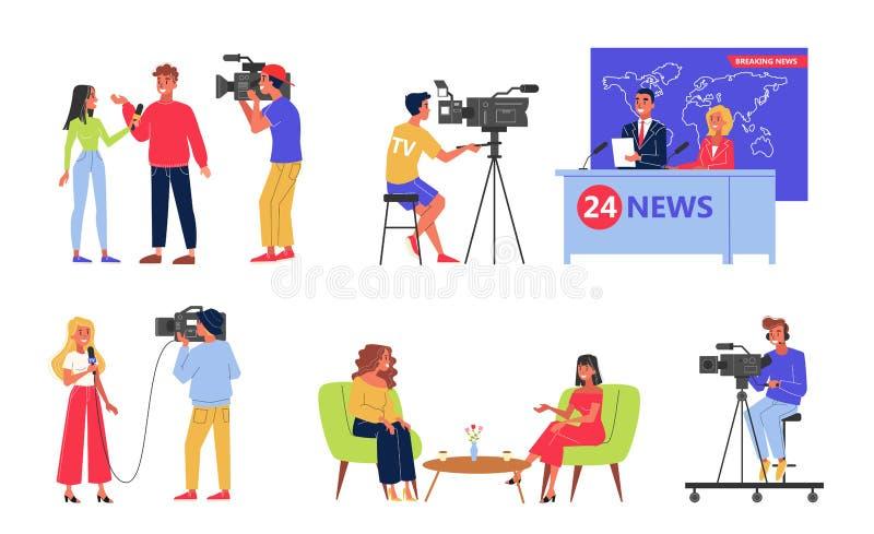 Insieme di industria della televisione Professione del giornalista e del commentatore del notiziario illustrazione vettoriale