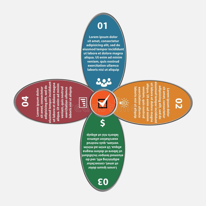 Insieme di infographics del cerchio del flover di vettore Modello per il diagramma, il grafico, la presentazione ed il grafico Af illustrazione vettoriale