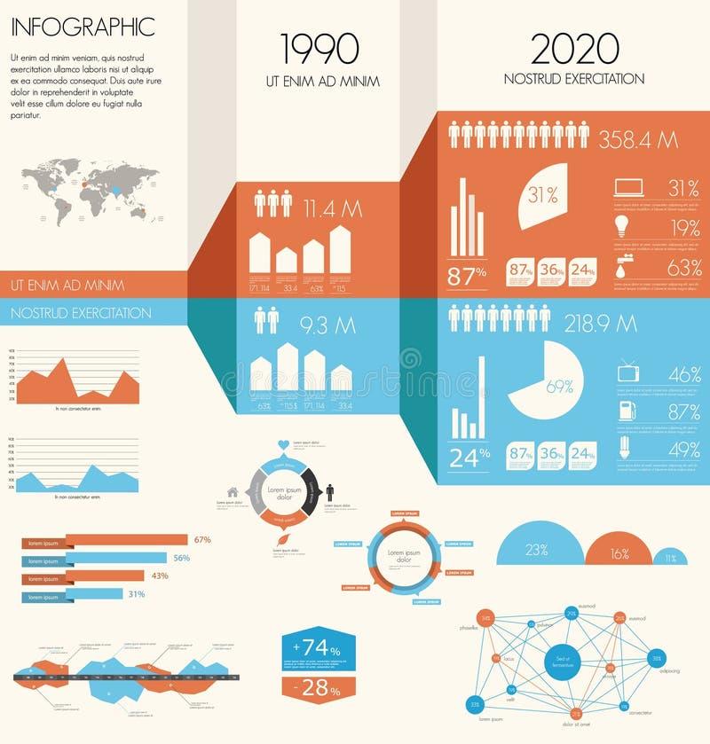 Insieme di infographics dell'annata. illustrazione vettoriale