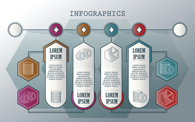 Insieme di infographics di vettore profilo Raccolta dei modelli per il diagramma del ciclo, il grafico, la presentazione ed il gr illustrazione vettoriale
