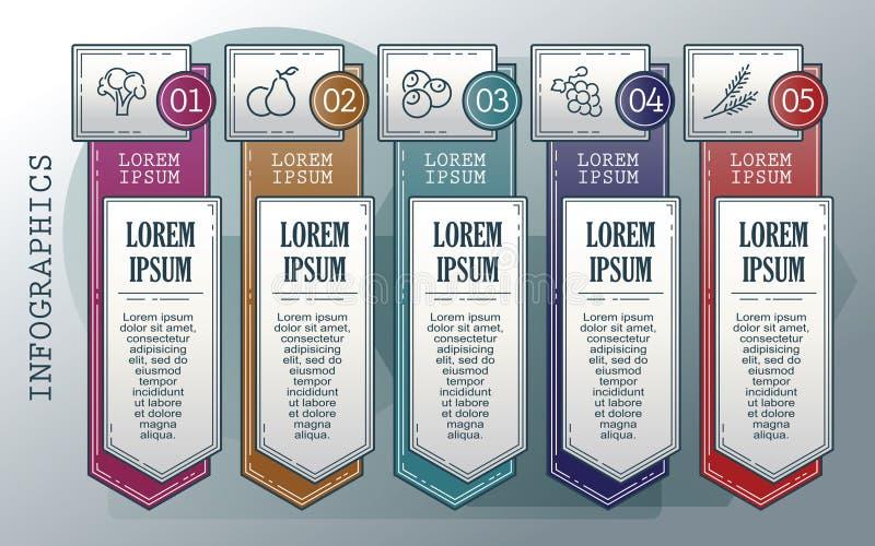 Insieme di infographics di vettore profilo Raccolta dei modelli per il diagramma del ciclo, il grafico, la presentazione ed il gr illustrazione di stock