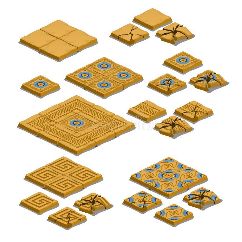 Insieme di intere e mattonelle di pavimentazione incrinate isolate su fondo bianco Illustrazione del primo piano del fumetto di v illustrazione di stock