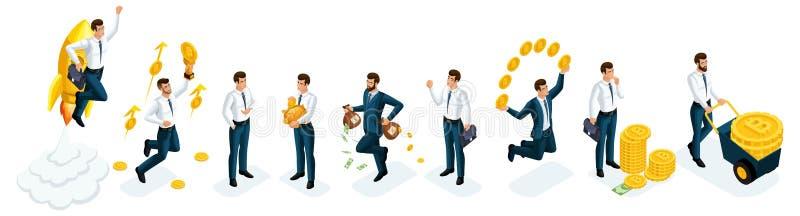 Insieme di Isometrics degli uomini d'affari, investitori, speculatori, giocatori di mercato finanziario, banchieri, infrastruttur royalty illustrazione gratis