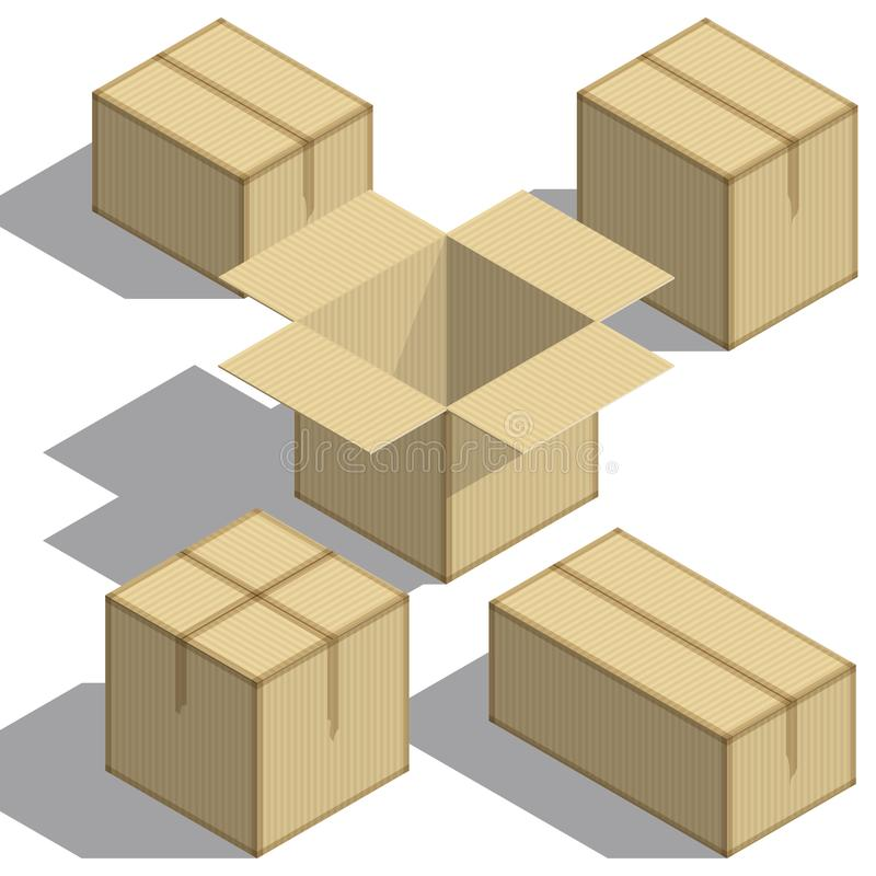 Insieme di Isometry dei contenitori di imballaggio su fondo bianco Elemento di disegno Per il vostro progetto di affari Illustraz royalty illustrazione gratis