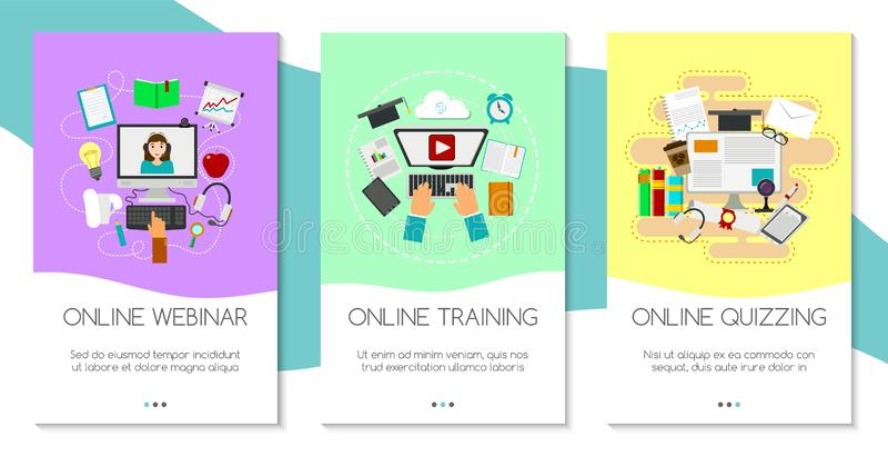 Insieme di istruzione a distanza delle insegne Corsi online, webinar, interroganti, e-learning, illustrazione di vettore di conce illustrazione di stock