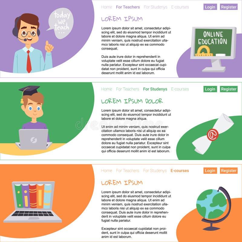 Insieme di istruzione a distanza delle insegne Corsi online, webinar, interroganti, e-learning, illustrazione di vettore di conce royalty illustrazione gratis