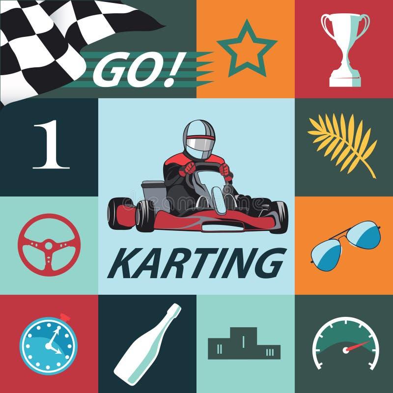 Insieme di Karting Infographic Progettazione piana, vettore fotografia stock
