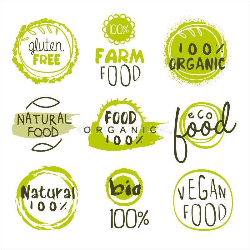 Insieme di Lables dell'alimento di Eco illustrazione vettoriale