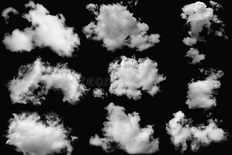 Insieme di lanuginoso bianco delle nuvole sugli elementi isolati immagini stock