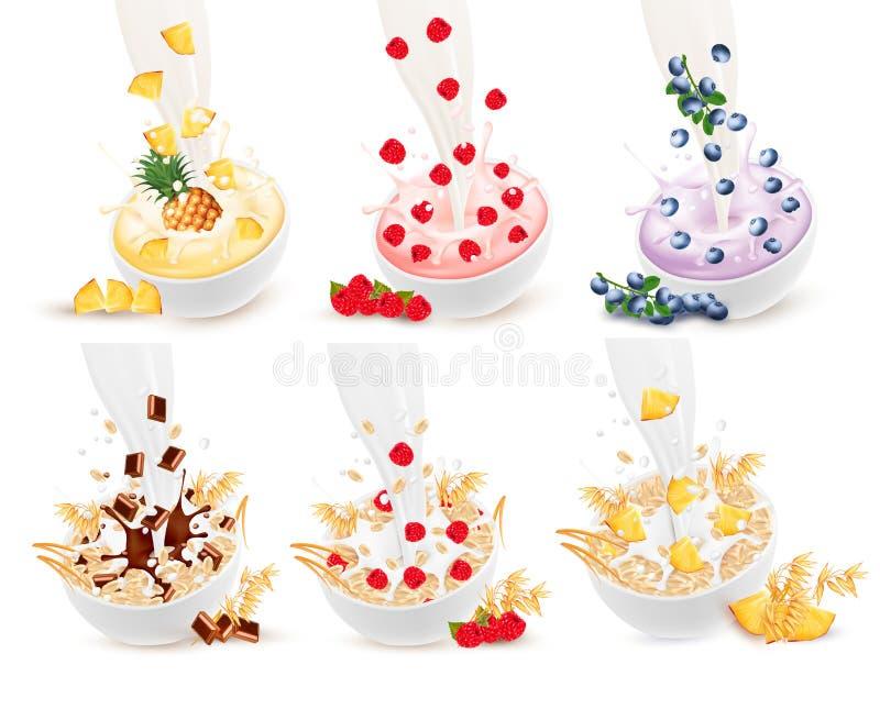 Insieme di latte che sfocia in una ciotola con grano e frutta e bacche illustrazione di stock