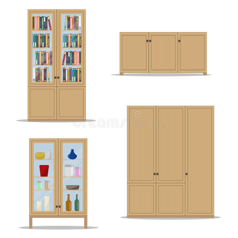 Insieme di legno classico dell'interno con l'armadietto, lo scaffale per libri, il guardaroba ed il gabinetto isolati royalty illustrazione gratis