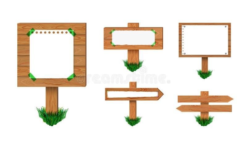 Insieme di legno dei cartelli di vettore, isolato sulla raccolta bianca del fondo di retro segni illustrazione di stock