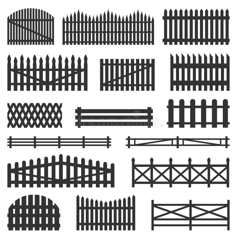 Insieme di legno dei recinti rurali illustrazione di stock
