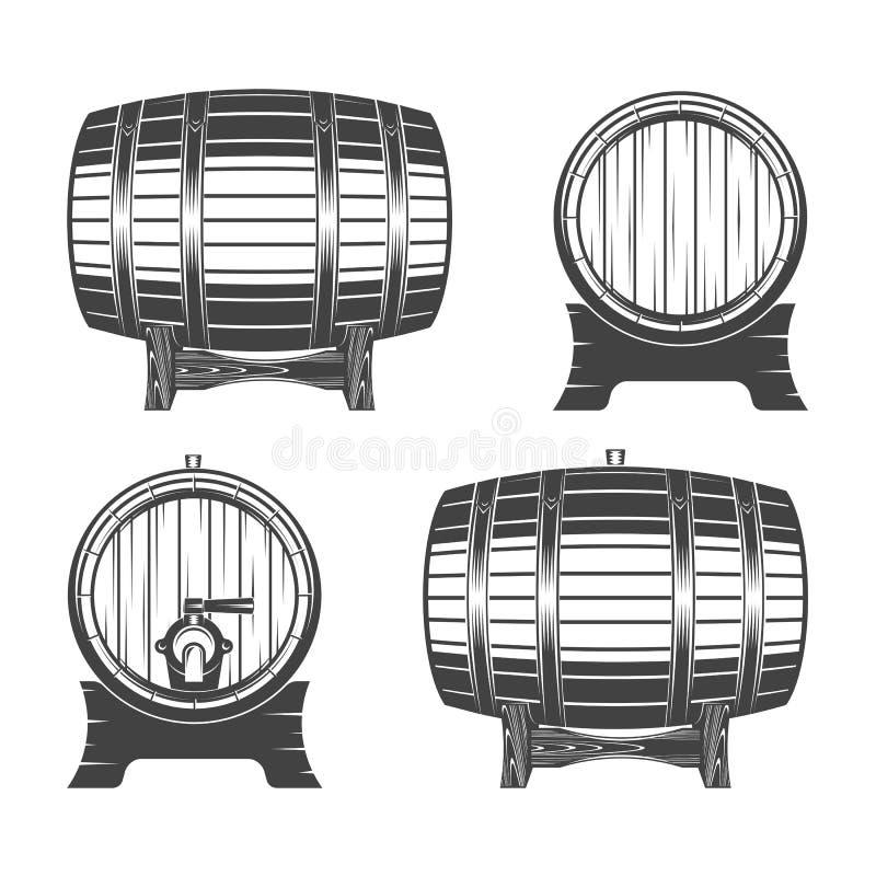 Insieme di legno del barilotto illustrazione vettoriale