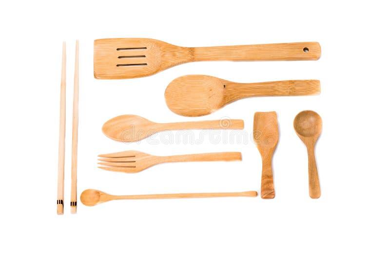 Insieme di legno del cucchiaio isolato su fondo bianco fotografia stock