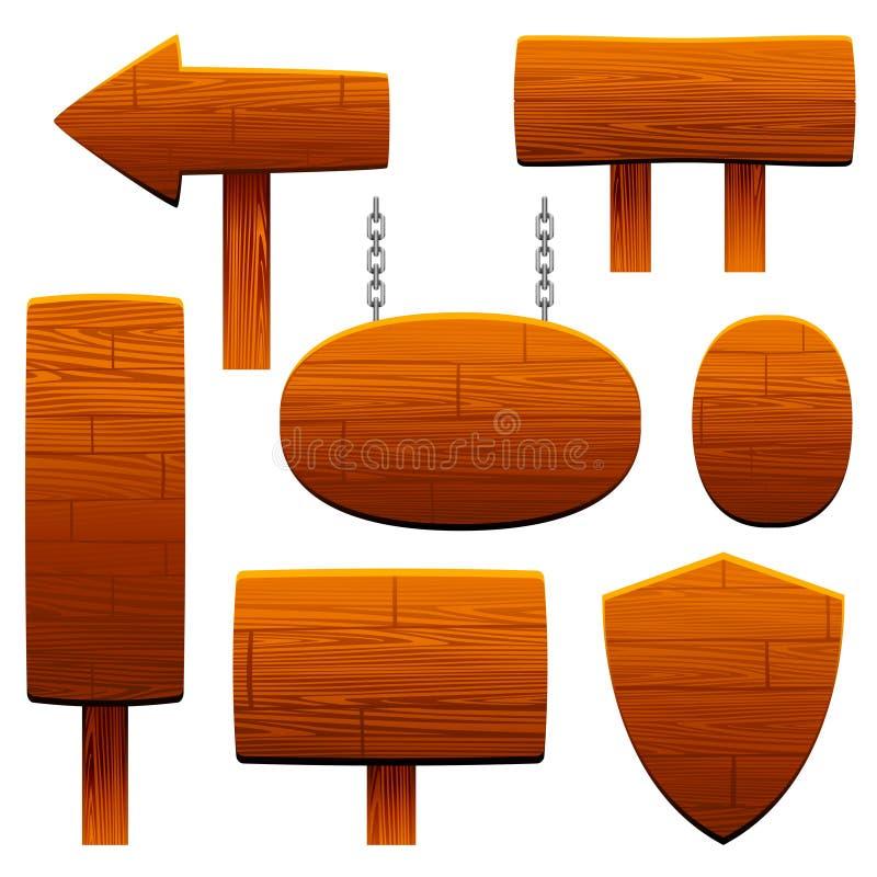 Insieme di legno del segno royalty illustrazione gratis