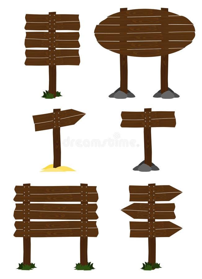 Insieme di legno del segno di vettore illustrazione vettoriale