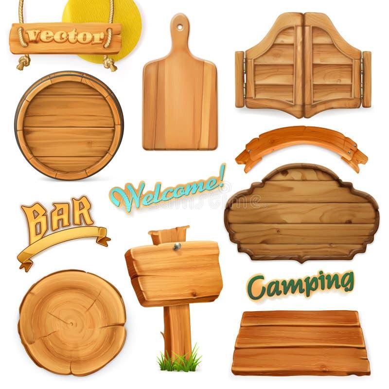 Insieme di legno del segno Modello per il logo, emblema Vettore illustrazione vettoriale