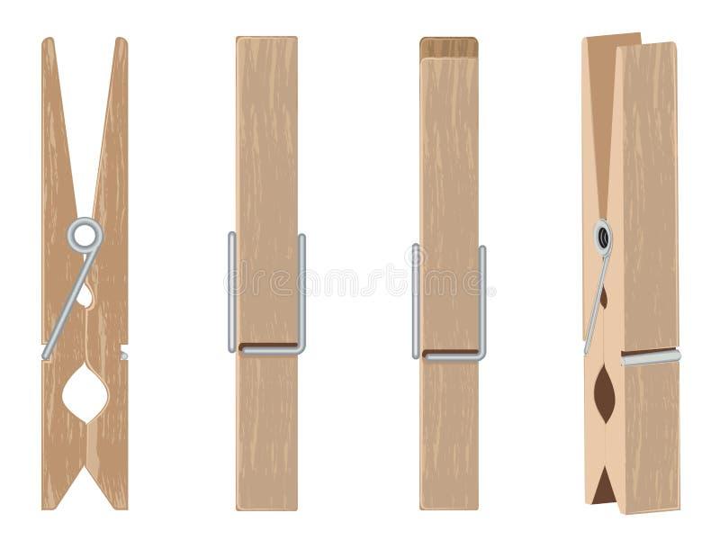 Insieme di legno della molletta da bucato illustrazione vettoriale