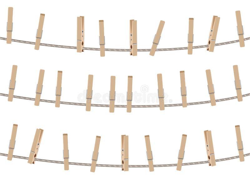 Insieme di legno della molletta da bucato royalty illustrazione gratis
