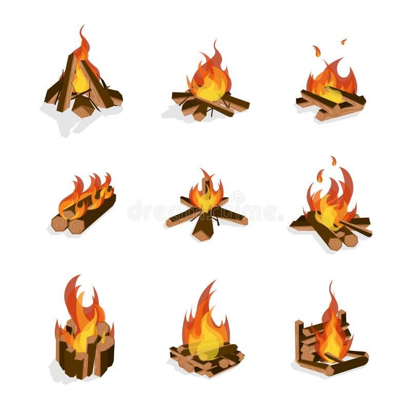 Insieme di legno e del fuoco di accampamento del fuoco del fumetto Vettore royalty illustrazione gratis