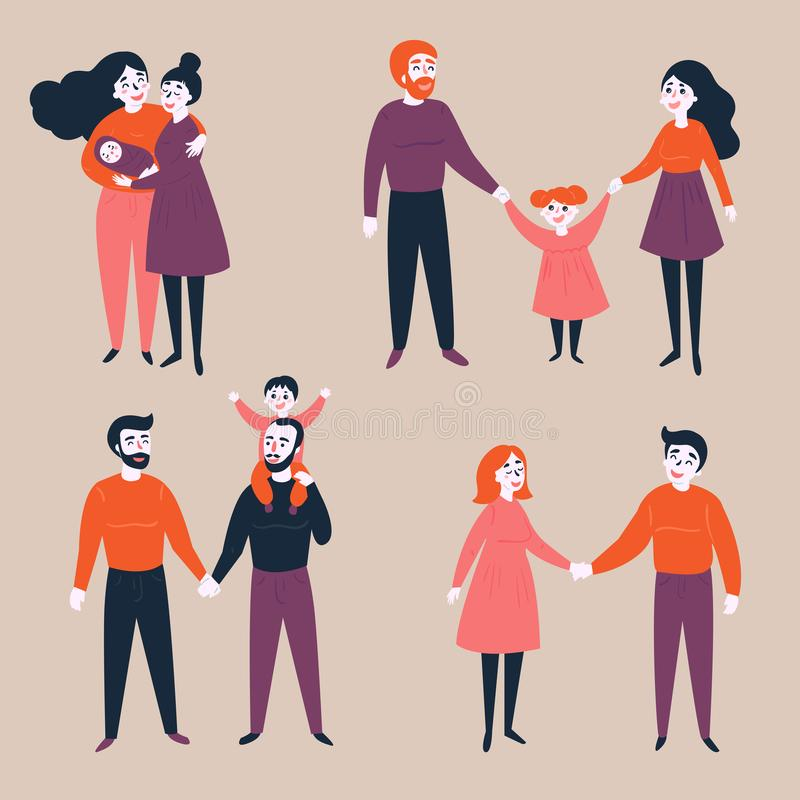 Insieme di lgbt gay e delle coppie tradizionali con il bambino royalty illustrazione gratis