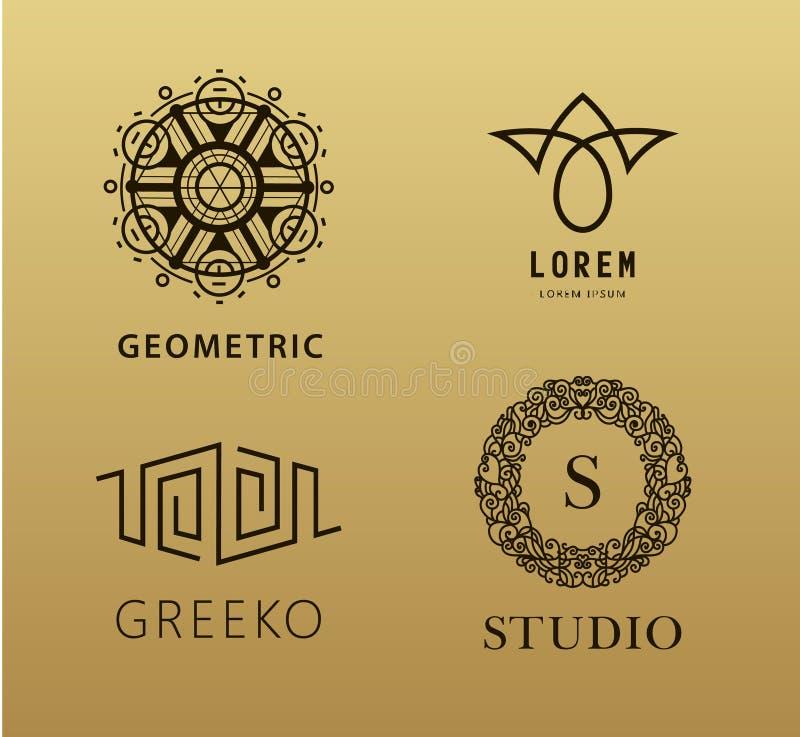 Insieme di lineare astratto, logos di vettore del monogramma royalty illustrazione gratis