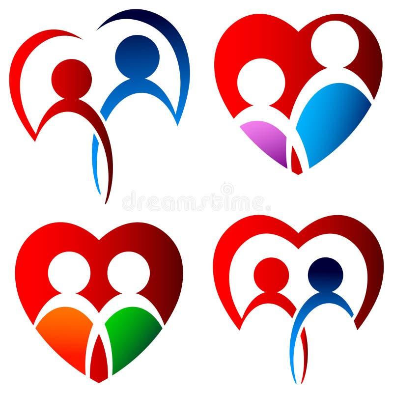 Insieme di logo degli amanti illustrazione di stock