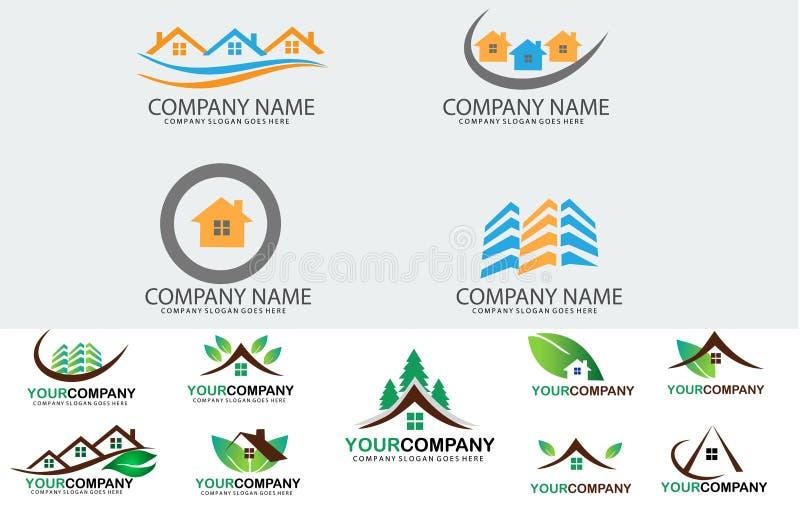 Insieme di logo del bene immobile illustrazione vettoriale