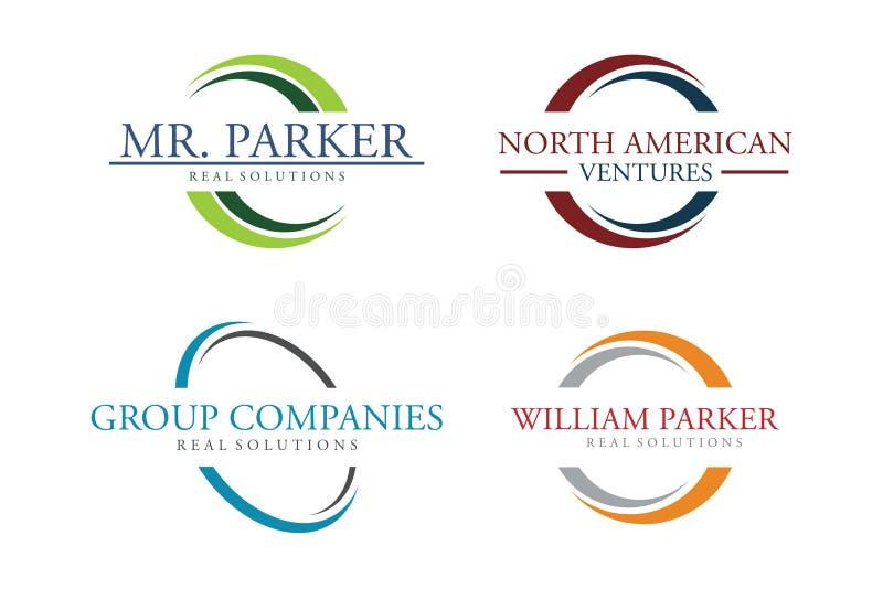 Insieme di logo del cerchio illustrazione di stock