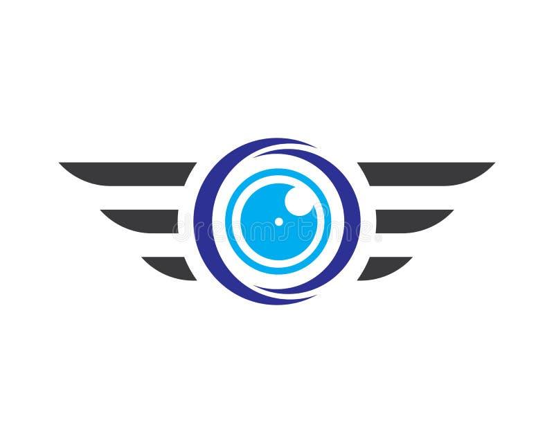 Insieme di logo del fuco di vettore isolato su fondo per il negozio, logo di servizio del fuco, etichetta volante del club illustrazione di stock