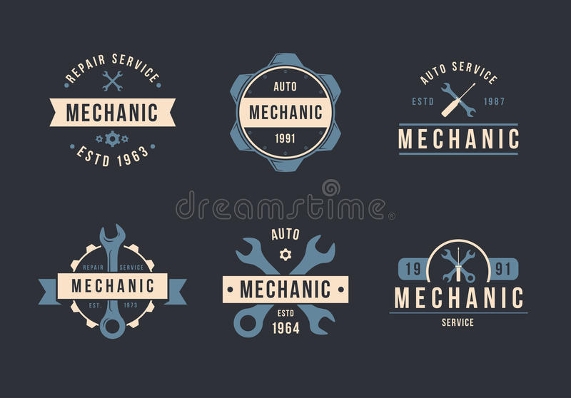 Insieme di logo del meccanico immagine stock