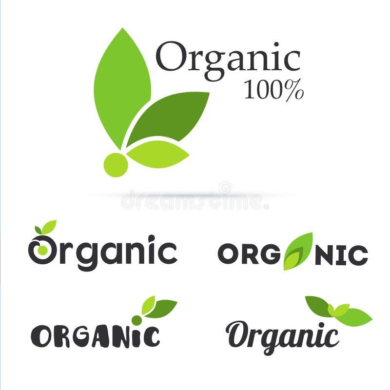 insieme 100% di logo del prodotto biologico Contrassegni naturali dell'alimento Azienda agricola fresca s illustrazione di stock