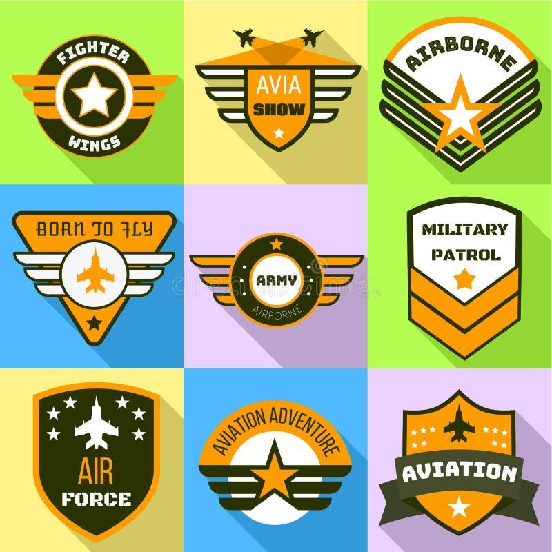 Insieme di logo dell'esercito, stile piano illustrazione di stock