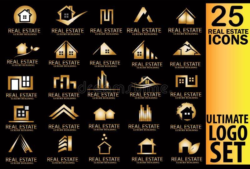 Insieme di logo dell'oro del bene immobile illustrazione di stock