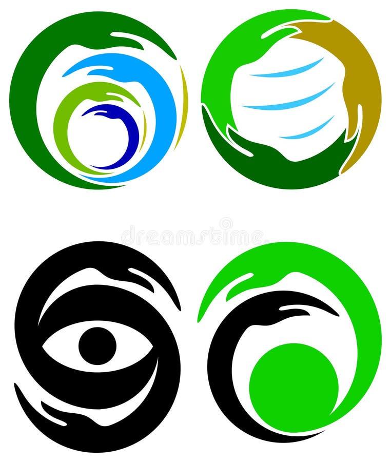 Insieme di logo delle mani royalty illustrazione gratis