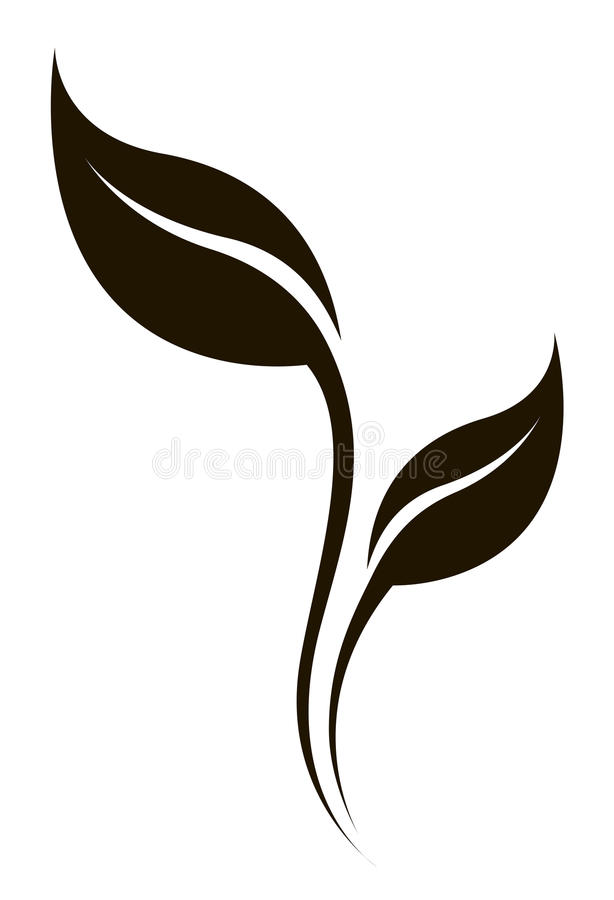 Insieme di logo di arte di vettore Siluetta stilizzata della foglia della molla isolata illustrazione di stock
