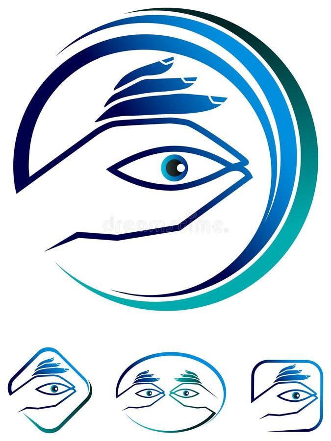 Insieme di logo di cura dell'occhio illustrazione vettoriale