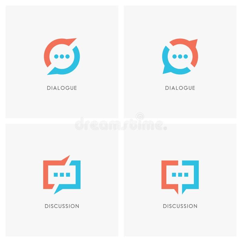 Insieme di logo di discussione e di dialogo royalty illustrazione gratis