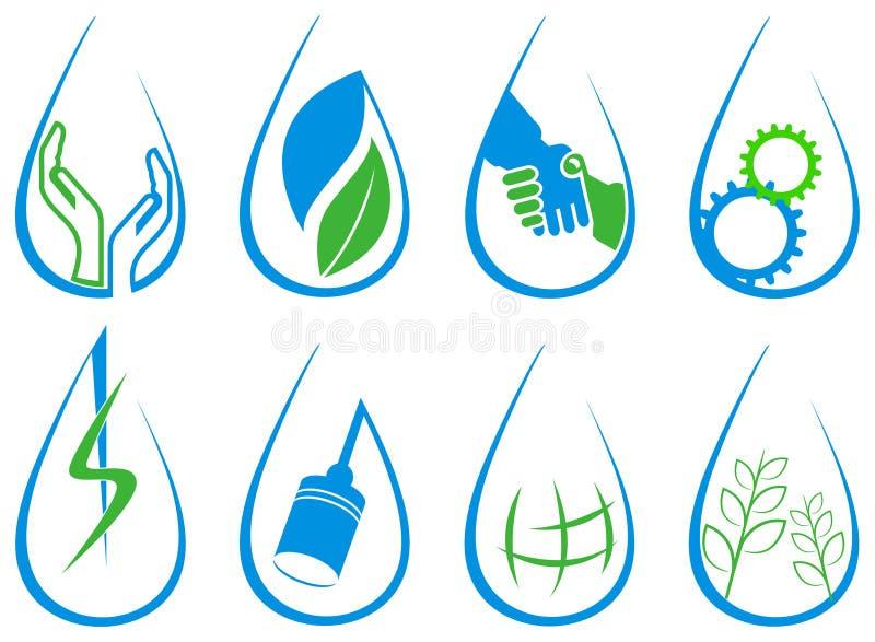 Insieme di logo di goccia illustrazione di stock