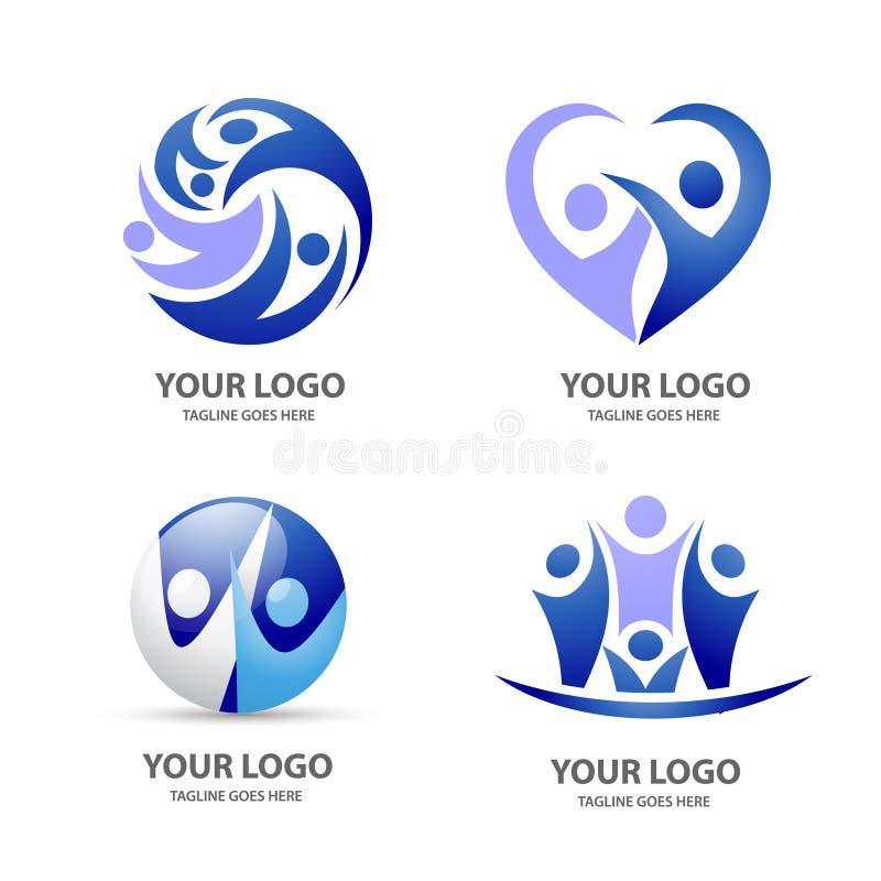 Insieme di logo di vettore della gente royalty illustrazione gratis